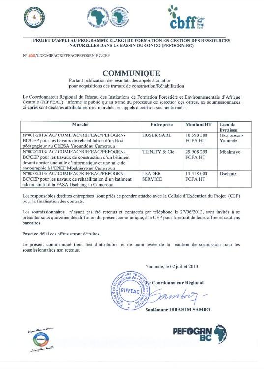 N°402/C/COMIFAC/RIFFEAC/PEFOGRN-BC/CEP