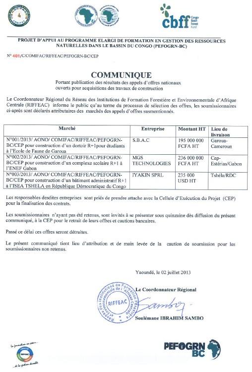 N°401/C/COMIFAC/RIFFEAC/PEFOGRN-BC/CEP