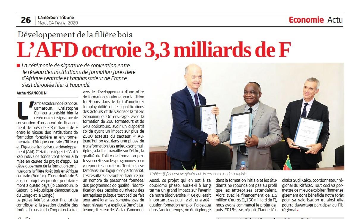 Article et image paru dans le Cameroun Tribune (CT) du 04 février 2020